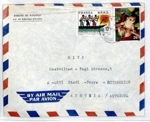 RWANDA Cover 1996 Missionary Air Mail MIVA Austria LEMUR ANIMALS CM65