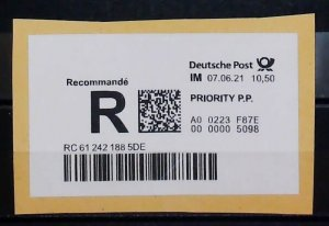 Germany 2021 €10.50 Registered Adhesive Label Priority Mail Deutsche Post 14813