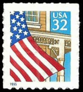 US #2920 Bk Sgl 32c Flag, perf 8.7, Blue 1995, MNH, (PCB-3)