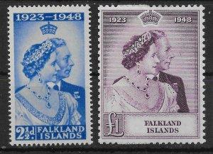 FALKLAND ISLANDS SG166/7 1948 ROYAL SILVER WEDDING SET MTD MINT