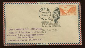 1936  VP Squadron FIVE-F Special Flight Cover Coco Solo  CZ to Galapagos Islands
