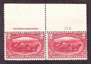 US 286 2c Trans-Mississippi Plate #728 Inscription Pair VF OG NH SCV $160