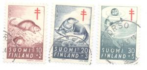 Finland Sc B160-2 1961 Muskrat Otter TB stamps used
