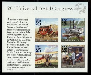 #2438 25c Traditional Mail Delivery S/S - XF og NH - w/FREE SHIPPING