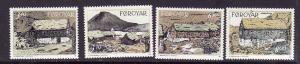 D4-Faroe Is.-Sc#243-6-unused NH set-Traditional Houses-1992-