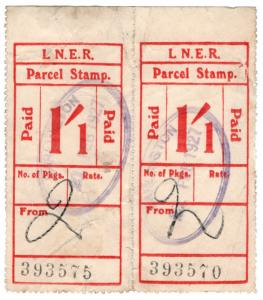 (I.B) London & North Eastern Railway : Parcel Stamp 1/1d (Darlington)