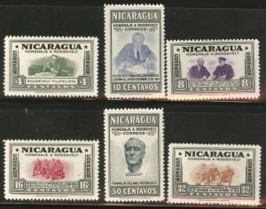 Nicaragua Scott 695-700 MH* 1946 set