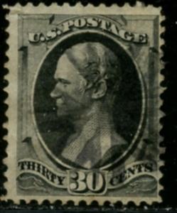 US Sc#165 1873 30c Hamilton Gray Black White Wove Paper Sound & Fine Used