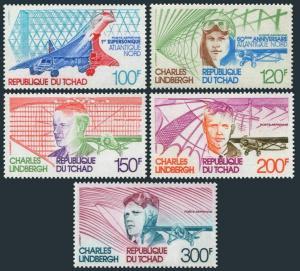 Chad C215-C219,MNH.Michel 795-799. Charles Lindbergh flight,50.Concorde.1977.