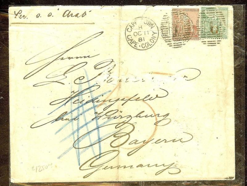 CAPE OF GOOD HOPE GRIQUALAND  (P0210B) 1881 COMBINATION COVER TO GERMANY.  RARE
