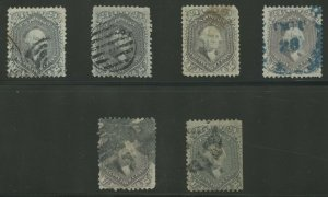 #70, 70a 24c 1862 (6) DIFF USED WITH MINOR FLAWS CV $1,900 AU1074