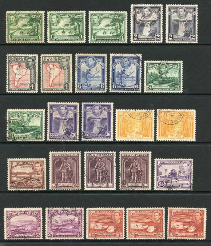 British Guiana SG908/19 1938 KGVI Set of 12 Inc Colour and Perf Changes Fine Us