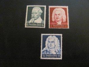 GERMANY 1935 MNH SC# 456-8  BACH/HANDEL $25 (112)