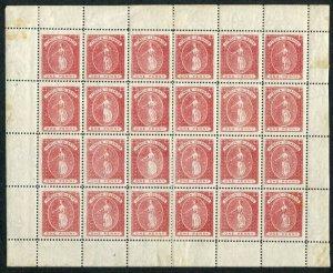 BRITISH VIRGIN ISLANDS-1887-89 1d Rose-Red Complete Sheet 24 Sg 33