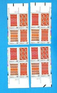 USA - Scott 2235-2238a - VFMNH Plate Blocks Matched Set - 22ct NAVAJO BLANKETS