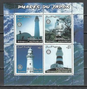 Somali Rep. 2003 Cinderella issue. Lighthouses sheet of 4. Rotary logo.