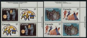 Canada 836a,8ai TR Plate Blocks MNH Inuit Art, Shelter & Community