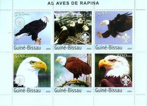 Guinea-Bissau MNH S/S Eagles 2003 6 Stamps