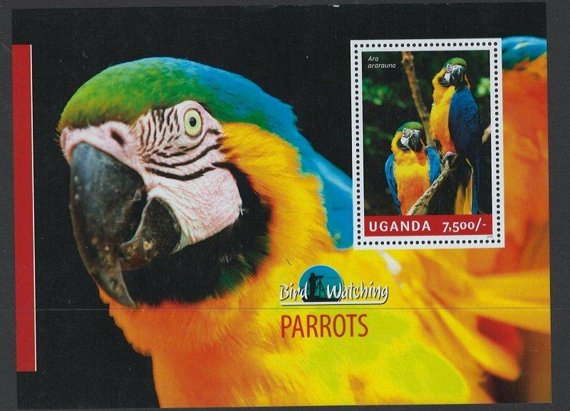 Uganda Scott 2124 MNH! Parrots! Souv. Sheet!