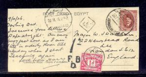 EGYPT -1926 Suze Canal card travel from Isamailia To England Taxed with 1 Penny