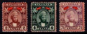 Zanzibar 1894 Definitives, 2a, 4a & 7 1/2a [Unused]