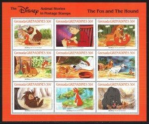 Grenada. 1988. Small sheet 1027-35. Disney, cartoons. MNH.