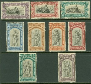 EDW1949SELL : SAN MARINO 1918 Scott #B3-11 Complete set Very Fine, Used. Cat $77