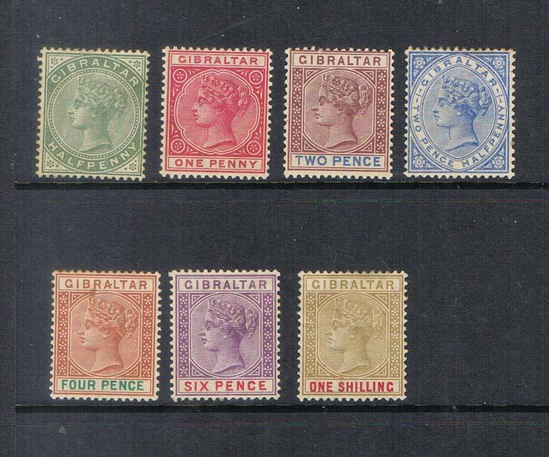 Gibraltar 1886 QV SG 8-14 set of 7 MH - Scarce set