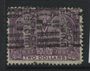 Canada 1897 $2 dark purple Jubilee used with a roller cancel.