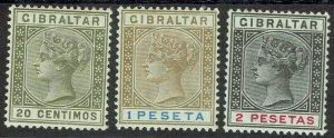 GIBRALTAR 1889 QV 20C,1 PESETA AND 2 PESETAS