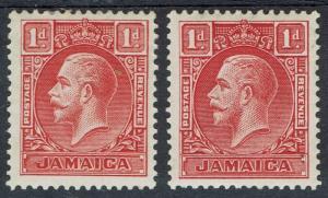 JAMAICA 1929 KGV 1D DIE I AND DIE II