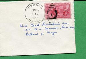 Hawaii Cover 1952 Kekaha HI Duplex Cancel to Portland OR - S8325