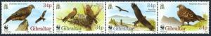 Gibraltar 716 ad strip,MNH.Michel 774-777. WWF 1996.Red kite.