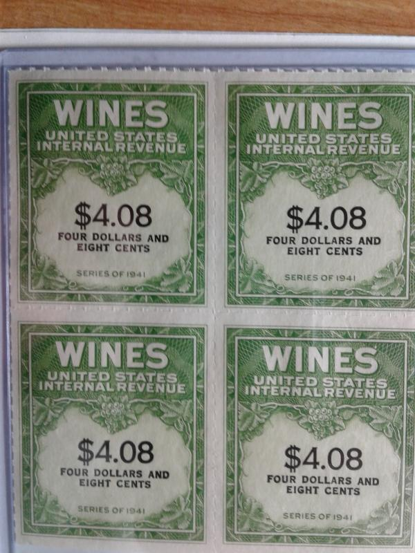 SCOTT # RE 201 MINT NEVER HINGED BLOCK OF 4 GEMS NGAI TWO LINES WINE STAMPS