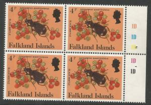 FALKLAND ISLANDS  390  MNH,  BOOKLET PANE, INSECTS, BLACK BEETLE