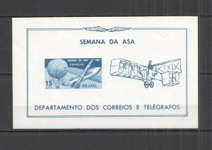 F0734 1967 IMPERF BRAZIL AVIATION TRANSPORT FLIGHT WEEK 1BL MNH