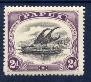Papua 1909 sg 68 2d blk & purple - var rudder flaw, posn 7 - LM