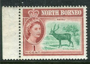 NORTH BORNEO; 1961 early QEII issue fine Mint hinged Marginal value, 1c