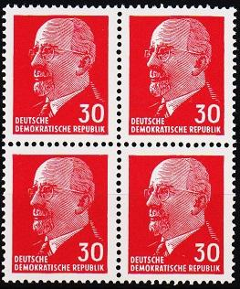 Germany(DDR). 1961 30pf (Block of 4) S.G.E582 Unmounted Mint