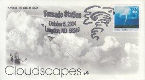 2004 Cumulonimbus w/Tornado Cloudscapes  (Scott 3878o) Artcraft Clouds FDC