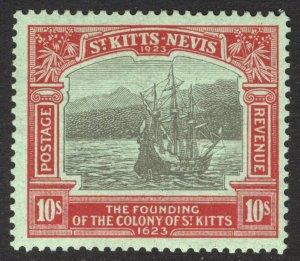 St Kitts Nevis 1923 10s Red&Blk on Emer SG 58 Scott 62 VLMM/MVLH Cat £300($375)