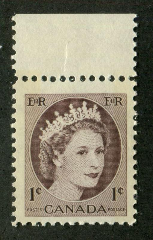 Canada #337p 1c Chocolate Brown 1954 Wilding Issue - W2B on DF Paper F-70 NH