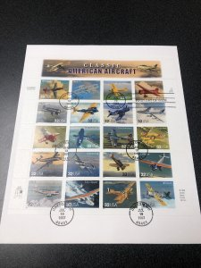 U.S. 3142 CLASSIC AIRCRAFT Souvenir Sheet Of 20 On Big Envelope 1997