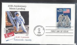 United States, 2419, $2.40 Moon Landing - 20th Anniv. FDC, Used
