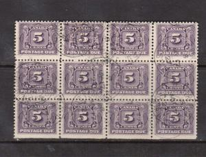 Canada #J4 VF Used Block Of Twelve With Montreal March 17 1927 CDS Cancels