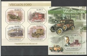 BC1103 2011 MOZAMBIQUE TRANSPORT XX CENTURY CARS FORD VEHICLES BL+KB MNH