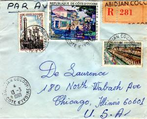 Ivory Coast 10F Cotton Mill, 15F Abidjan Oil Refinery, and 100F PHILEXAFRIQUE...