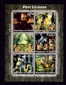 Chad 2002 Paul Cezanne mini-sheet of 6 NH