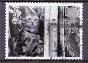Great Britain 2001 used cats and dogs 1st cat at window  #