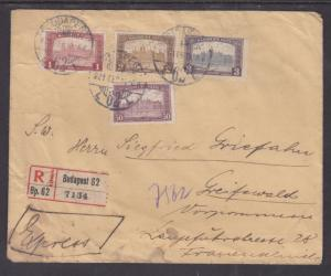 Hungary Sc 119/124 on 1921 REGISTERED Cover, 4 diff